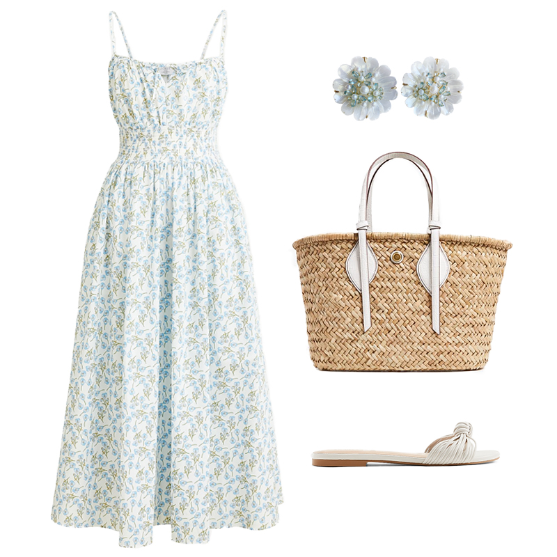 FLORAL PRINT MIDI DRESS WITH STRAW TOTE