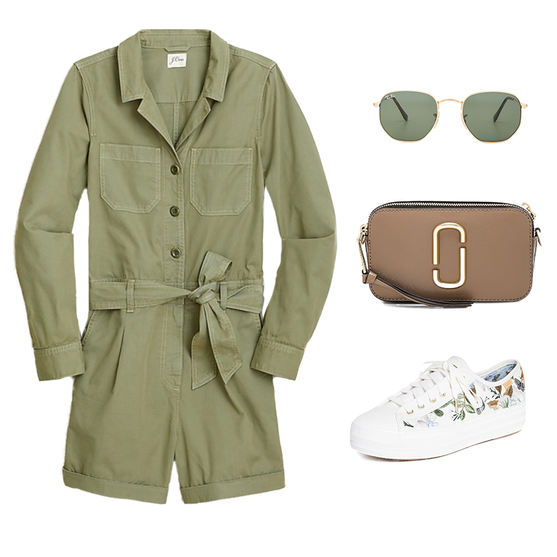 GREEN ROMPER WITH SNEAKERS