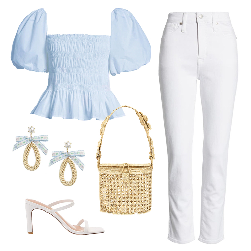 PUFF SLEEVE TOP WITH WHITE JEANS