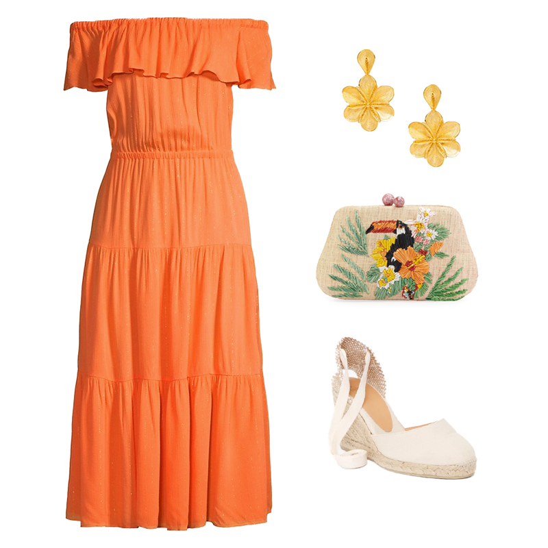 ORANGE MIDI DRESS WITH TROPICAL EMBROIDERED CLUTCH