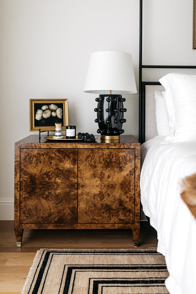 BURL WOOD NIGHSTANDS // STYLING A NEUTRAL BEDROOM