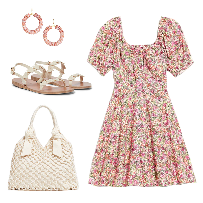 FLORAL PRINT MINIDRESS WITH IVORY ACCESSORIES