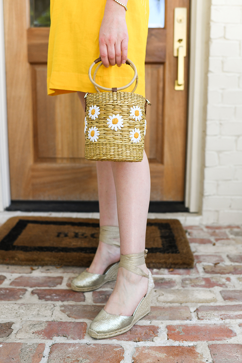 THE STYLE SCRIBE // YELLOW DRESS, DAISY BUCKET BAG, GOLD ESPADRILLES