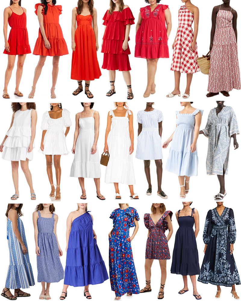 RED, WHITE AND BLUE // STYLISH DRESSES FOR 4TH OF JULY