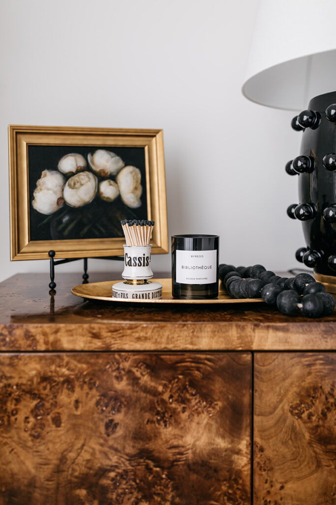 BURL WOOD NIGHTSTANDS // STYLING AN ELEGANT AND DRAMATIC NIGHTSTAND VIGNETTE