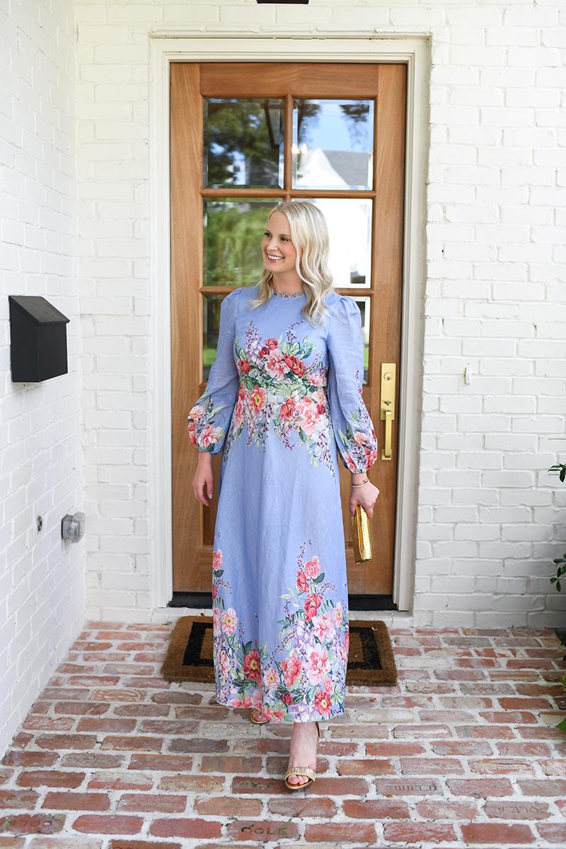ZIMMERMANN BLUE FLORAL MAXI DRESS