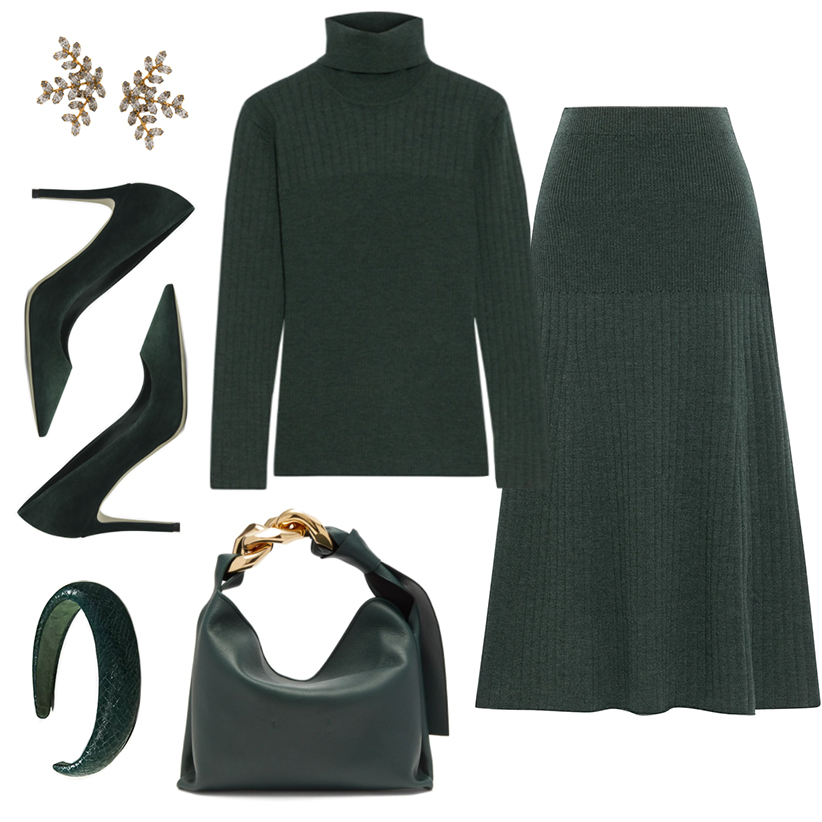 CHIC FALL OUTFIT IDEAS // MONOCHROME GREEN LOOK