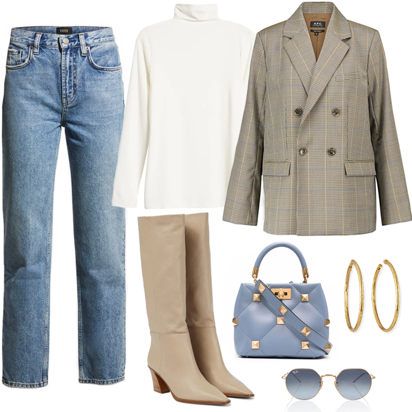 CHIC FALL OUTFITS // BLAZER, JEANS AND BOOTS